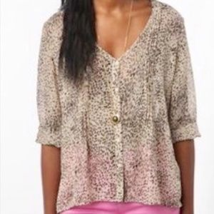 Pins & Needles animal print sheer button up blouse